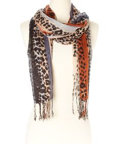 This Charcoal & Rust Abstract Leopard Fringe Scarf is perfect! #zulilyfinds