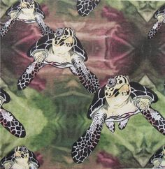 Turtle Fabric. Less turtles on this one than on the previous design.  Notice each turtle's face is different. :^)