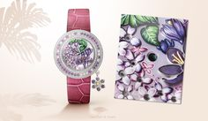 Expressing all the desire of a summer romance, the Van Cleef & Arpels Charms Extraordinaire Langage des Fleurs - Désir watch depicts lilac – synonymous with young love – and crocuses blooming on the dial thanks to cabochonné enamel work - white gold case, diamonds, pink, purple and yellow sapphires. Find out more on the Charms Extraordinaire watches collection.