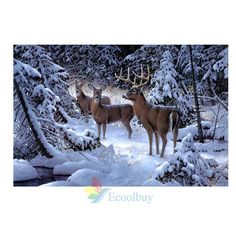 5D Diy Diamond Painting Snow Deers Elk Embroidery Cross Stitch Home Decor Hot #A