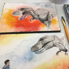 Daily Painting--l am painting T-Rex on different watercolor papers to check the difference. One is Arches 140 lbs rough and the other is Arches 140lbs hot press. Very different texture. 種類の違う水彩画用紙に同じモチーフを描いて実験中。遊び半分だからT-Rex。#watercolor #watercolour #tiranosaurus #dinosaur #dailypainting #instadaily #水彩画#透明水彩#yoshikomishina