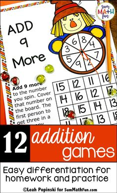 Fall Activities - Addition Games Easy Differentiation for Addition Fact Fluency Addition Activities, Addition Games, Autumn Activities, Addition And Subtraction, First Grade Activities, Math Activities, Math Worksheets, Math Resources, Creative Teaching
