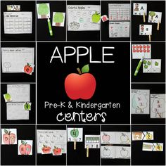 apple math and literacy centers for Pre-K and Kindergarten