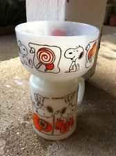 "Vintage 1958 Snoopy Ice Cream Anchor Hocking Fire King bowl 4"" + Free Mug"