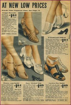 Ugh, I need to spend a day scanning new images :) Montgomery Wards 1940 Retro Heels, Saddle Shoes, Montgomery Ward, Fashion Catalogue, 1940s Dresses, Natural Tan, Pin Up Style, Novelty Print, Vintage Shoes