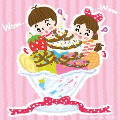 Sweet Ice cream. #illustration  #karnbua #kids #cartoon