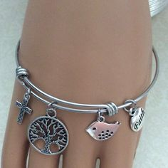 A personal favorite from my Etsy shop https://www.etsy.com/listing/521144046/faith-charm-bangle-bracelet-christian