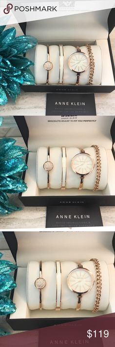 NWT Anne Klein Rosegold Watch & Bracelet Set Gorgeous NWT Rose Gold Anne Klein Watch & Bracelet Set in gift box. SET includes 3 bracelets & 1 Watch: (1) Watch with mother of pearl dial with clasp & extender, (1) Rose Gold Bangle encrusted w/36 Swarovski crystals, (1) rose gold chain bracelet, and (1) rose gold bangle with ivory enamel inlay.                                                                               ✅This item is not part of BOGO50 promotion.                    TAGS: Rose…
