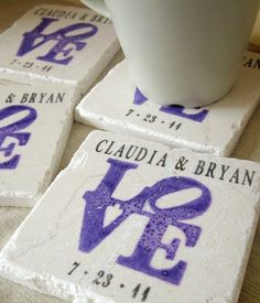 Personalized Purple Love Statue  Coasters Set of by MyLittleChick, $20.00