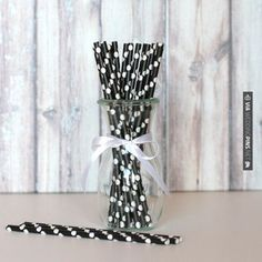Wow! - Paper Straws - Black with White Dots | CHECK OUT MORE GREAT BLACK AND WHITE WEDDING IDEAS AT WEDDINGPINS.NET | #weddings #wedding #blackandwhitewedding #blackandwhiteweddingphotos #events #forweddings #iloveweddings #blackandwhite #romance #vintage #blackwedding #planners #whitewedding #ceremonyphotos #weddingphotos #weddingpictures