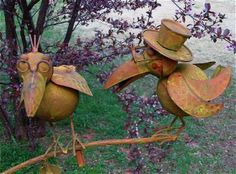 Large Kinetic Garden Art that's guaranteed to bring a smile! Grow old with me... Two Old Crows are a whimsical way to add some fun to your landscape. With a rus