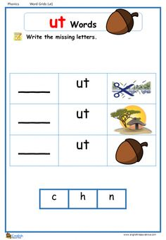 Word Family Word Grids – Page 2 – English Treasure Trove Grade 1 Reading Worksheets, Phonics Reading, Reading Comprehension Worksheets, Phonics Worksheets, Phonetics For Kids, English Phonics, Phonics Words, Kindergarten Learning, Learn English Words