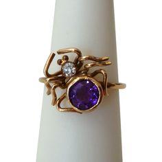 Victorian 9ct Gold Spider Ring w/ Amethyst  Diamond