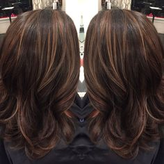Dark brown hair with caramel highlights and midlength hair cut by ...