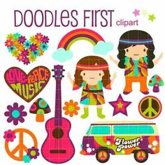 kit scrapbook digital hippie paz 3 imagens clipart