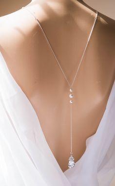 Backdrop Pearl necklace, Bridal necklace, Swarovski Bridal jewelry, SLOAN
