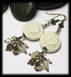 Magnolia... Handmade Beaded Jewelry Earrings Flowers Floral Carved White Cinnabar Cream Crystal Antique Brass Dangle Lightweight