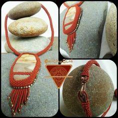 So Earthyso Goddessy. Beaded petrified wood pendant necklace.