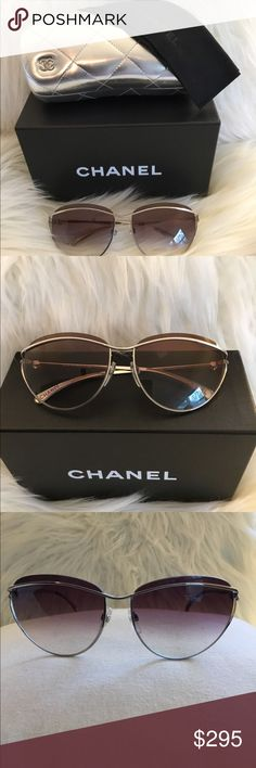 Chanel Sunglasses Chanel Sunglasses are very well taken care of and in excellent condition.  They come with box, case, and cleaning cloth.  The glasses have a dark obré effect. They are unique and one of a kind. CHANEL Accessories Sunglasses