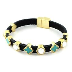 """Leather Magnetic Link Bracelet; 7.5""""L; Black genuine leather bracelet with magnetic closure; Turquoise tone epoxy flower with clear round crystal stations; Eileen's Collection. $28.99"""