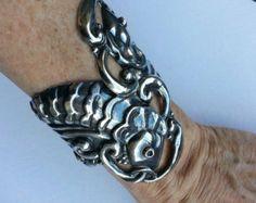 Early Taxco Mexican Silver Open Repousse Clamper Bracelet, Attributed Margot Van Voorhies (Margot de Taxco)