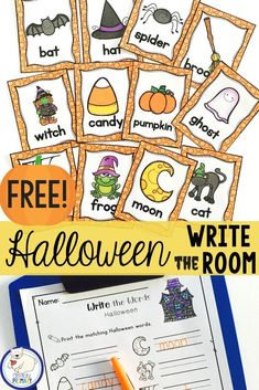 This free Halloween Write the Room activity is the perfect seasonal addition to your literacy stations or centers. For kindergarten and first grade classrooms. #halloweenactivities #writetheroom #kindergartenhalloween #firstgradehalloween #teacherspayteachers #tptfree