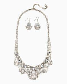 charming charlie | Scalloped Stones Statement Necklace Set | UPC: 410007059961 #charmingcharlie