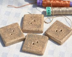 2 pieces Handmade Ceramic Large Square Buttons in Beige with Tiny Brown Specks