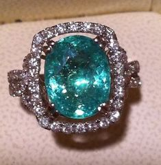 Paraiba Tourmaline Rings | ... Ct Git Certified Neon Blue Paraiba Tourmaline vs Diamond Ring | eBay