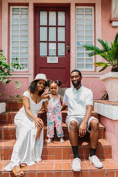 African American family together outside their home by Kristen Curette & Daemaine Hines - Stocksy United Family Of Three, 4 Year Olds, Model Release, Us Images, Family Portraits, Design Elements, The Outsiders, Royalty, African