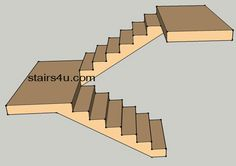 u shaped staircase | illustration of u shaped stairway without walls under it