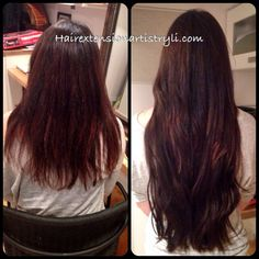 From bra strap to butt crack! Double drawn hair is super thick, so you can add lots of length without it looking stringy or straggly. Microlink hair extensions- no glue, no heat!