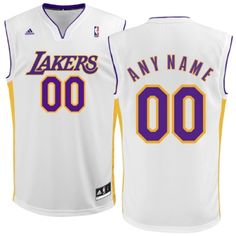 Mens Los Angeles Lakers White Customizable Replica Basketball Jersey