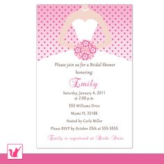 Printable Personalized Modern Pink Polka Dots Bridal Shower Invitation - Bride Bouquet Dress Sweet 16 Quinceanera 16th 15th