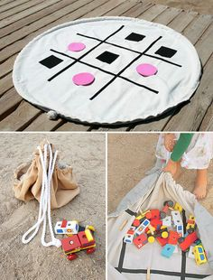 Clean up is a snap with this combination play mat / toy storage bag for kids!