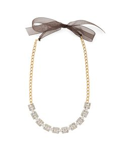 Rhinestone Necklace with Ribbon.