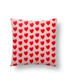 Cushion synthetic soft 45 x 45 cm Pattern cœurs - tunetoo #pillow #heart #pink