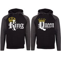 a51367f608 Royal King and Queen Two-tone Black / Charcoal Raglan Hoodie. King And Queen  SweatshirtsCute Couple ...