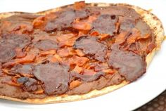 Nutella Caramel Chocolate Bacon Dessert Pizza   - not in my life time !! yech!