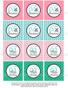 So Pretty and Classy for a 65th Birthday!  DIY Print at home as many times as needed!  Love these! 65th Birthday Printable DIY Party Tags and by sunshinetulipdesign, $6.00