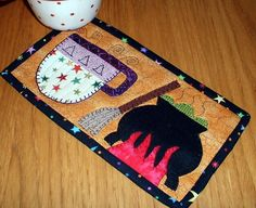 (7) Name: 'Quilting : Witches Brew Halloween Mug Rug