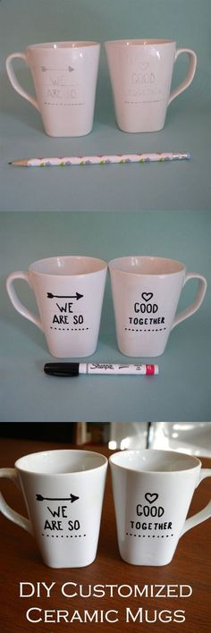 Coffee or tea has never been so sweet... Customize your own ceramic mugs.
