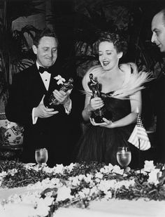 Oscars Photos from the Academy Archives: Spencer Tracy, who won for Captains Courageous, and Bette Davis, who won for Jezebel in 1938.