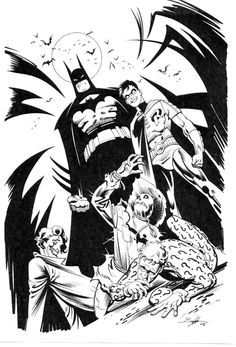 Batman, Robin, Scarecrow, Riddler & Joker by Norm Breyfogle Comic Art Batman Y Robin, I Am Batman, Batman Art, Batman Comics, Dc Comics, Black And White Comics, Comic Pictures, Comic Pics, Batman Universe