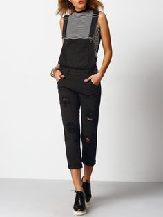6307aa6ec57 Ripped Front Pockets Denim Dungarees Black Overalls
