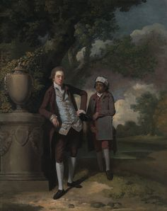 1765 ca. A Young Man with his Indian(?) Servant Holding a Portfolio by John Hamilton Mortimer, British, Oil on canvas, Yale Center for British Art, Paul Mellon Collection Romantic Paintings, Classic Paintings, Google Art Project, Historical Pictures, African American History, Young Man, Art Google, Art History, Gifts In A Mug