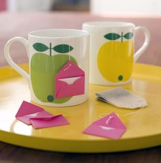 I love this idea! Start someone's day with a little note attached to a tea bag . Template for the little envelope is at this site: Oh Crafts