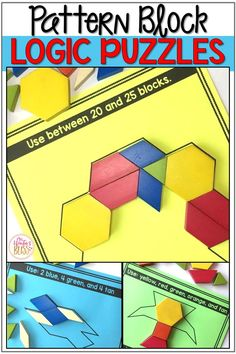Math Logic Puzzles Shapes! These printable hands on pattern block logic puzzles will have kids begging for more! Super easy to use, these brain teasers are a great math center that will keep kids engaged while improving your students' skills needed to solve logic tasks as well as developing their visual discrimination skills. #brainteasers #logicpuzzles  #brainteaserpuzzles