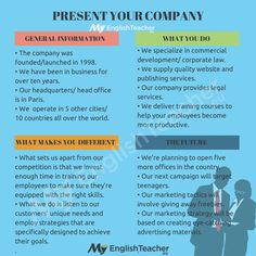 How can I talk about my company if I want to present it to someone? - MyEnglishTeacher.eu