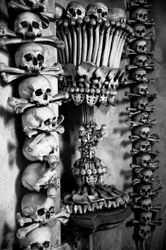 The Sedlac Ossuary in Prague, a gothic style church adorned with over 40,000 artistically arranged skeletons